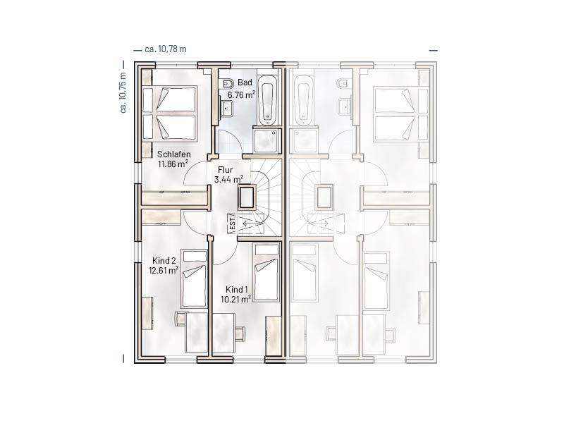 Grundriss OG Stadthaus Quartier