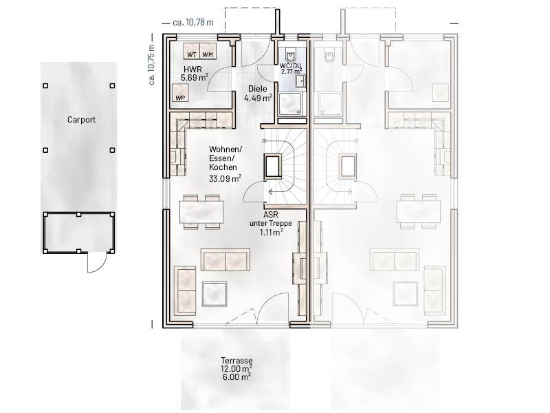 Grundriss EG Stadthaus Quartier
